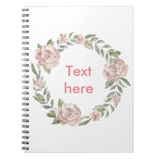 Pastel pink rose wreath customisable name or text notebook