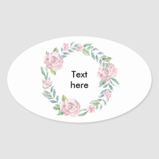 Pastel pink rose wreath customisable name or text oval sticker