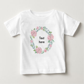 Pastel pink rose wreath to customise with a name baby T-Shirt
