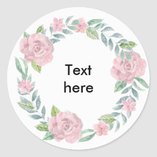 Pastel pink rose wreath to customise with a name classic round sticker