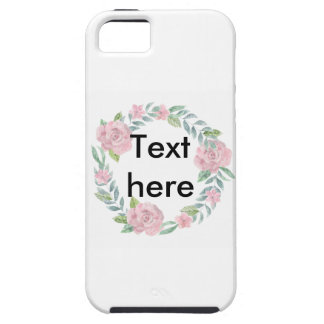 Pastel pink rose wreath to customise with a name iPhone 5 cover
