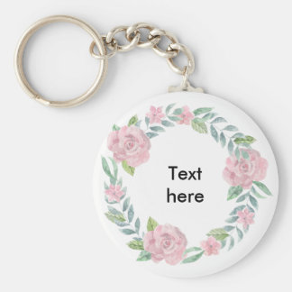 Pastel pink rose wreath to customise with a name key ring