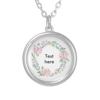 Pastel pink rose wreath to customise with a name silver plated necklace