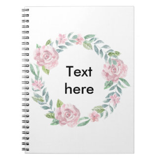Pastel pink rose wreath to customise with a name spiral note books