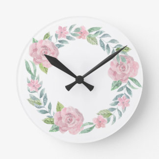 Pastel pink rose wreath to customise with a name wall clocks