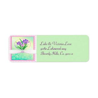 Pastel Pink & Seafoam Green Spring Flowers Wedding Return Address Label