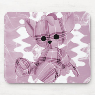 Pastel Pink Spiral Smoke Teddy Bear Mousepad