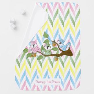 Pastel Pink Squirrel Chevron Pattern Baby Blanket