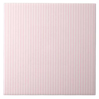 Pastel Pink Stripes. Large Square Tile