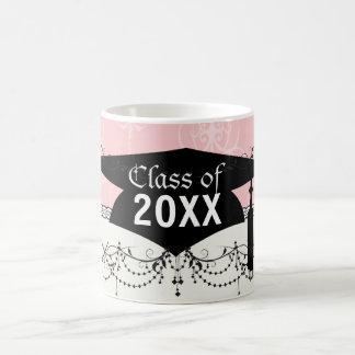 pastel pink swirl damask chic design graduation classic white coffee mug
