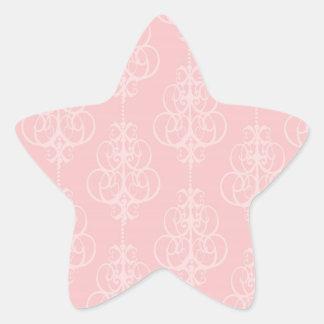 pastel pink swirl damask chic design star sticker