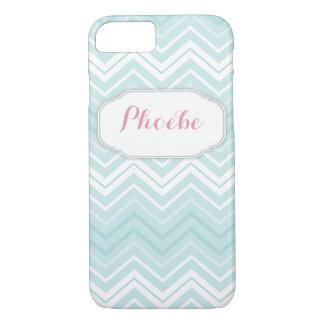 Pastel Pink & Teal Chevron Zigzag Personalised iPhone 7 Case