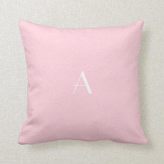 Pastel Pink Throw Pillow w White Monogram