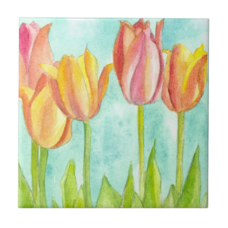 Pastel Pink Tulips Watercolor Flowers Small Square Tile
