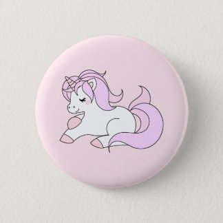 Pastel pink unicorn 6 cm round badge