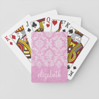 Pastel Pink Vintage Damask Pattern Grungy Finish Playing Cards