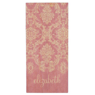 Pastel Pink Vintage Damask Pattern Grungy Finish Wood USB Flash Drive