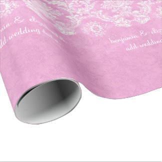 Pastel Pink Vintage Damask Pattern Grungy Finish Wrapping Paper