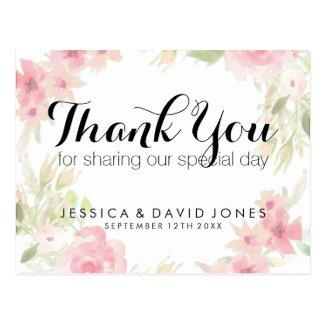 Pastel pink watercolor floral wedding thank you postcard