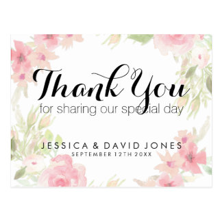 Pastel pink watercolor floral wedding thank you postcard