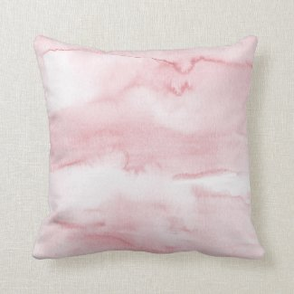 Pastel Pink Watercolour Wash Throw Pillow