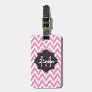 Pastel Pink & White Chevron Monogram Luggage Tag