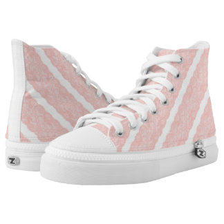 Pastel Pink White Lace Modern Vintage High Tops