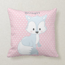 Pastel Pink-White Polka-Dot•Baby Fox•Custom Cushion