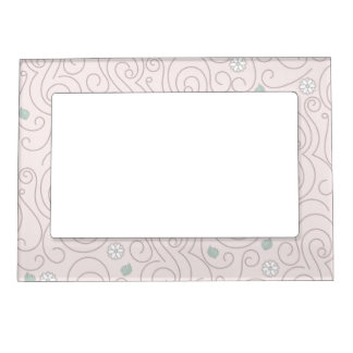 Pastel Pink with Flowers, Leaves and Swirls Magnetic Picture Frame