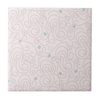 Pastel Pink with Flowers, Leaves and Swirls Tile