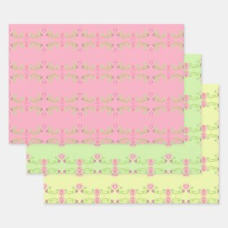 Pastel Pink Yellow and Green Wrapping Paper Sheet