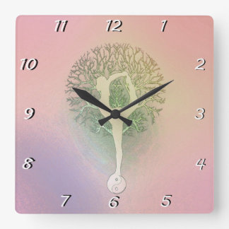Pastel Pink Yoga Tree Square Wall Clock