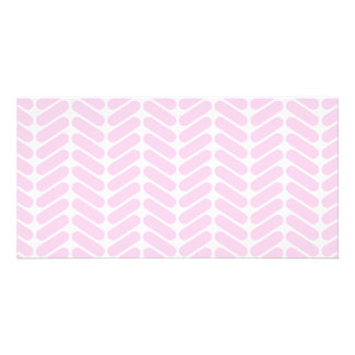 Pastel Pink Zigzag Pattern inspired by Knitting. Photo Card