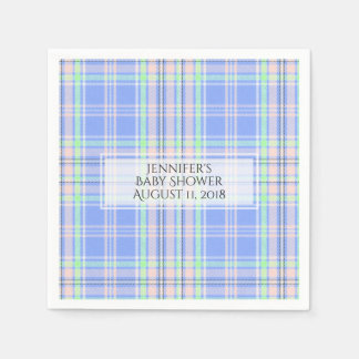 Pastel Plaid Baby Shower Paper Napkins