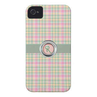Pastel Plaid Monogram iPhone 4 Case