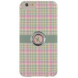 Pastel Plaid Monogram iPhone 6 Plus Case Barely There iPhone 6 Plus Case