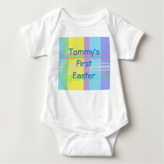 Pastel Plaid Name First Easter Romper Baby Bodysuit