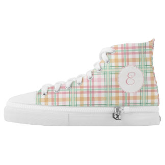 Pastel plaid soft pink and mint with monogram printed shoes