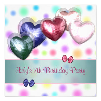 Pastel Polka Dot Balloons Birthday Party 13 Cm X 13 Cm Square Invitation Card