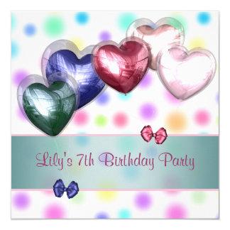 Pastel Polka Dot Balloons Birthday Party Card