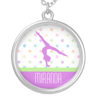 Pastel Polka-Dots Gymnastics in Lavender Silver Plated Necklace