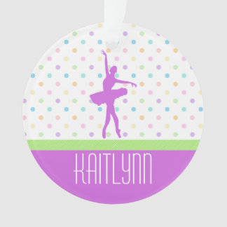 Pastel Polka-Dotted Tutu Dancer With Purple Detail Ornament