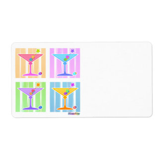 PASTEL POP ART MARTINIS SHIPPING LABEL