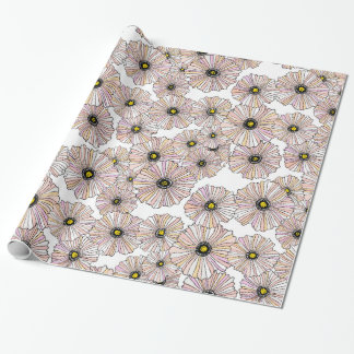 Pastel poppies floral gift wrap