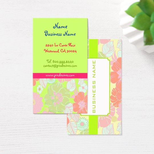 Pastel poppies retro florals business cards