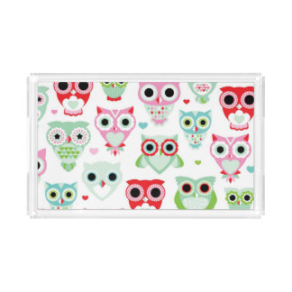 pastel powder color owl background acrylic tray