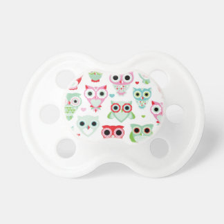 pastel powder color owl background baby pacifier