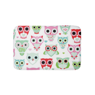pastel powder color owl background bath mat