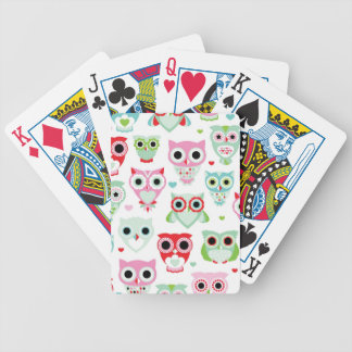 pastel powder color owl background bicycle playing cards