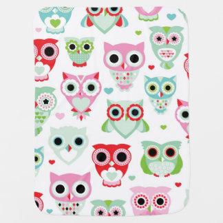 pastel powder color owl background buggy blanket